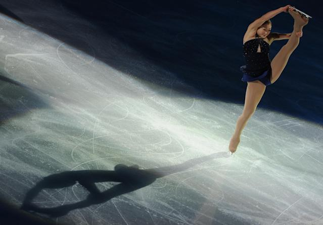 Mirai Nagasu of the US performs her routine in the exhibition event after The Cup of China, the third event on the ISU Grand Prix figure skating tour, in Shanghai on November 4, 2012. AFP PHOTO / Peter PARKSPETER PARKS/AFP/Getty Images