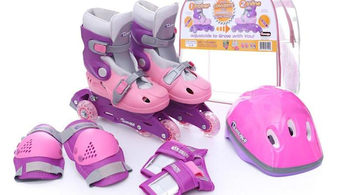 This set has all the equipment kids need to learn to roller skate.