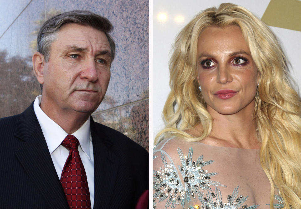 This combination photo shows Jamie Spears, left, father of Britney Spears, as he leaves the Stanley Mosk Courthouse on Oct. 24, 2012, in Los Angeles and Britney Spears at the Clive Davis and The Recording Academy Pre-Grammy Gala on Feb. 11, 2017, in Beverly Hills, Calif.. Britney Spears is asking a court to curb her father's control over her life and career. In documents filed Tuesday, Aug. 18, 2020, Spears asked that her father not return to the role of conservator of her person, which gave him power over her life decisions from 2008 until 2019, when he temporarily stepped aside.  (AP Photo)