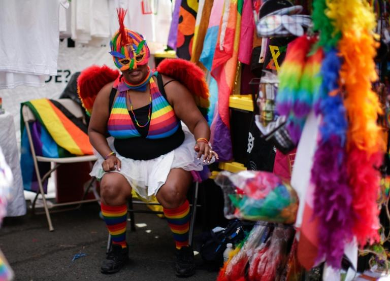 A woman waits for customers at a stand on the route of the Harlem Pride march in New York (AFP Photo/Kena Betancur)