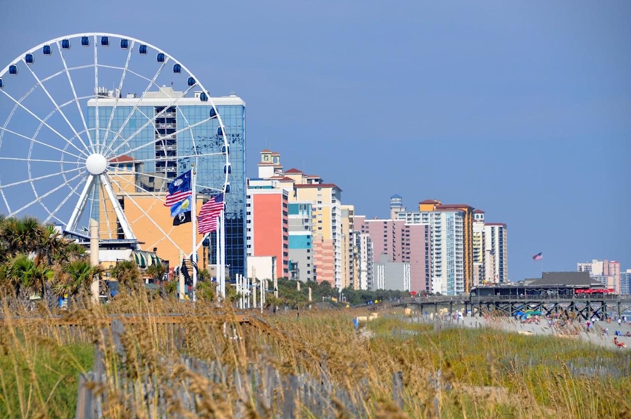 """<p>Myrtle Beach has a little bit of everything: beach life, a buzzing boardwalk, relaxed daytime activities, and happening nightlife. Be sure to head over to Market Common for free activities like movie nights and carriage rides. For accommodations, most <a href=""""http://www.daytonhouse.com/"""" target=""""_blank"""" class=""""ga-track"""" data-ga-category=""""Related"""" data-ga-label=""""http://www.daytonhouse.com/"""" data-ga-action=""""In-Line Links"""">hotel rooms</a> in Myrtle Beach are a steal, ranging in price anywhere from $50 to $100 a night right along the beachfront. And for food, head to <a href=""""http://www.myrtlebeach.com/restaurants/big-mikes/"""" target=""""_blank"""" class=""""ga-track"""" data-ga-category=""""Related"""" data-ga-label=""""http://www.myrtlebeach.com/restaurants/big-mikes/"""" data-ga-action=""""In-Line Links"""">Big Mike's</a>, where soul food is the star and the average meal is under $10!</p>"""