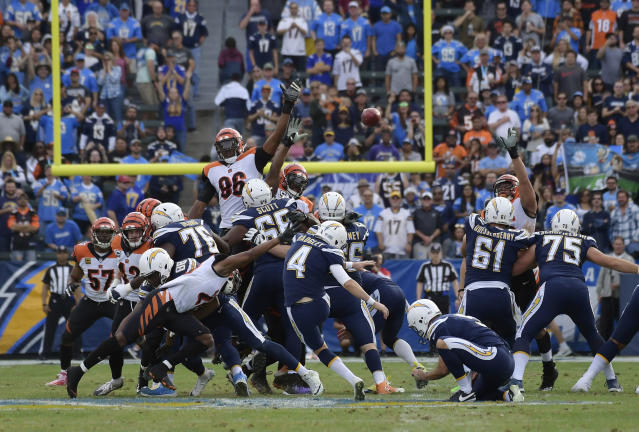 <p>Los Angeles Chargers kicker Mike Badgley (4) hits a field goal during the first half of an NFL football game against the Cincinnati Bengals Sunday, Dec. 9, 2018, in Carson, Calif. (AP Photo/Mark J. Terrill) </p>