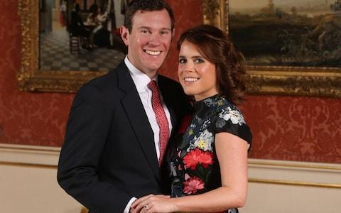 Princess Eugenie and Jack Brooksbank in the Picture Gallery at Buckingham Palace in London after they announced their engagement - Credit: Jonathan Brady/PA