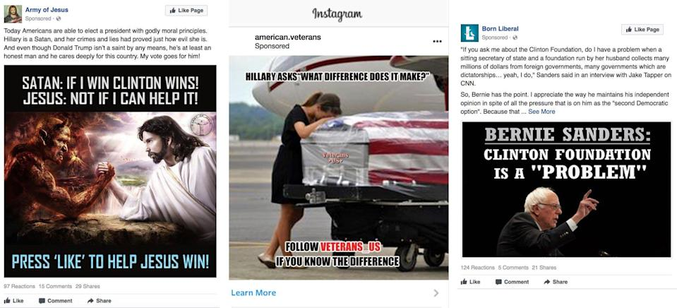 A selection of Russian-linked ads. (Images: Via the New York Times)