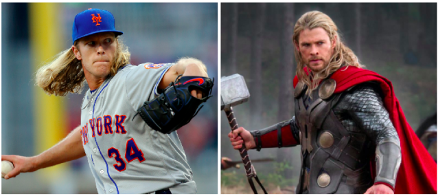 Noah Syndergaard is the ideal choice for Thor. (Images via AP and Marvel)