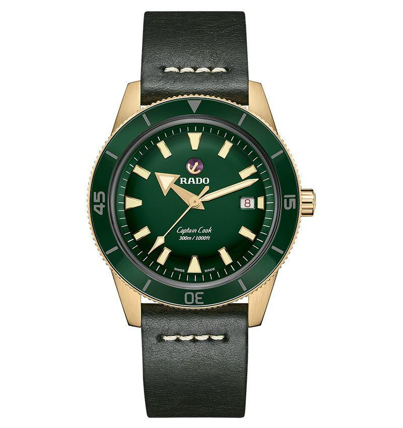 "<p><strong>$2,600</strong></p><p><a class=""link rapid-noclick-resp"" href=""https://www.rado.com/collections/captain-cook/captain-cook/R32504315"" rel=""nofollow noopener"" target=""_blank"" data-ylk=""slk:LEARN MORE"">LEARN MORE</a></p><p>The Swiss brand has been known for its groundbreaking work in the development of ceramic watches for well over two decades, but one of its older classic steel watches, the Captain Cook of 1962, has become increasingly popular since the brand reintroduced it in a near-replica look and size (37mm) in 2017, complete with its signature rotating anchor on the dial. It was instantly popular with fans, who begged for a bigger format. This year Rado unveiled the latest Captain Cook in a sturdy 42mm bronze case with a striking green sunray dial and adding green ceramic to the bezel to create a watch that is both contemporary and reassuringly classic at a relatively accessible price.</p>"
