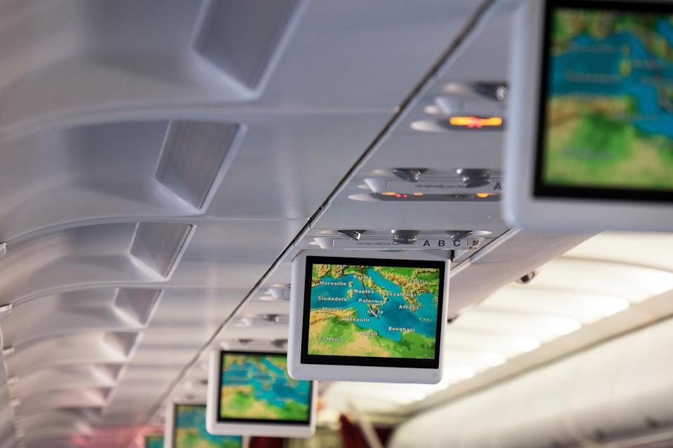 The in-flight route map features countries, cities, and, er, shipwrecks - Science Photo Library (Science Photo Library (Photographer) - [None]