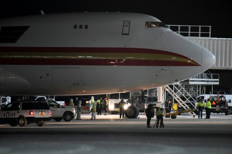A Boeing 747 chartered to evacuate Americans from Wuhan, China, arrives in January 2020 at Ted Stevens Anchorage International Airport