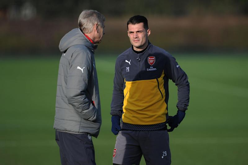 Wenger talks to Xhaka in training: Arsenal FC via Getty Images