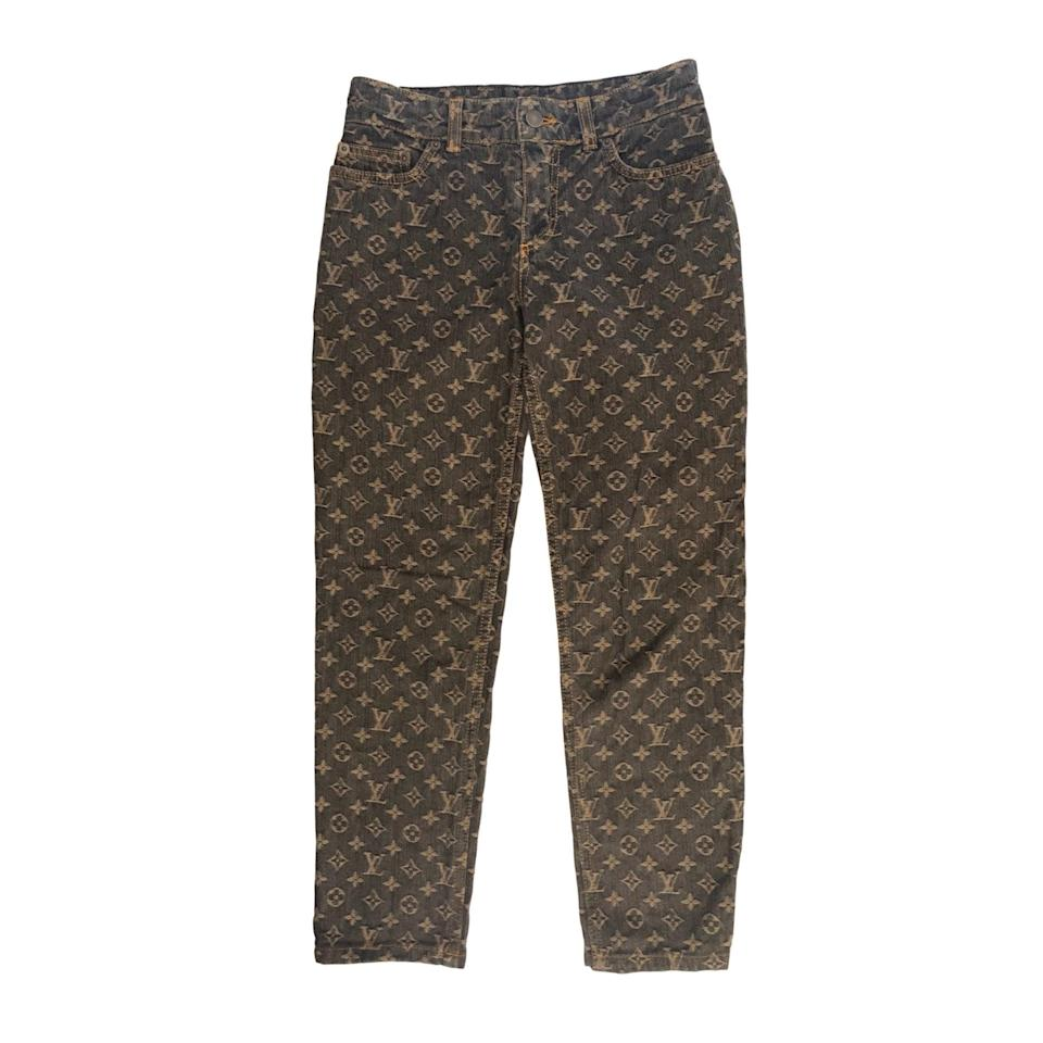 <p>Treasures of NYC aka TNYC ships internationally, and keeps some rare finds like these <span>Louis Vuitton Brown Monogram Denim Jeans</span> ($1,090) in stock.</p>