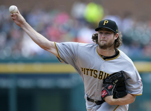 FILE - In this Aug. 10, 2017, file photo, Pittsburgh Pirates starter Gerrit Cole pitches against the Detroit Tigers during the first inning of a baseball game in Detroit. The Houston Astros have boosted their rotation with another big arm, acquiring Cole from the Pirates in a five-player trade. The deal was announced Saturday, Jan. 13. The Pirates got right-handers Joe Musgrove and Michael Feliz, third baseman Colin Moran and outfielder Jason Martin for their ace. (AP Photo/Duane Burleson, File)
