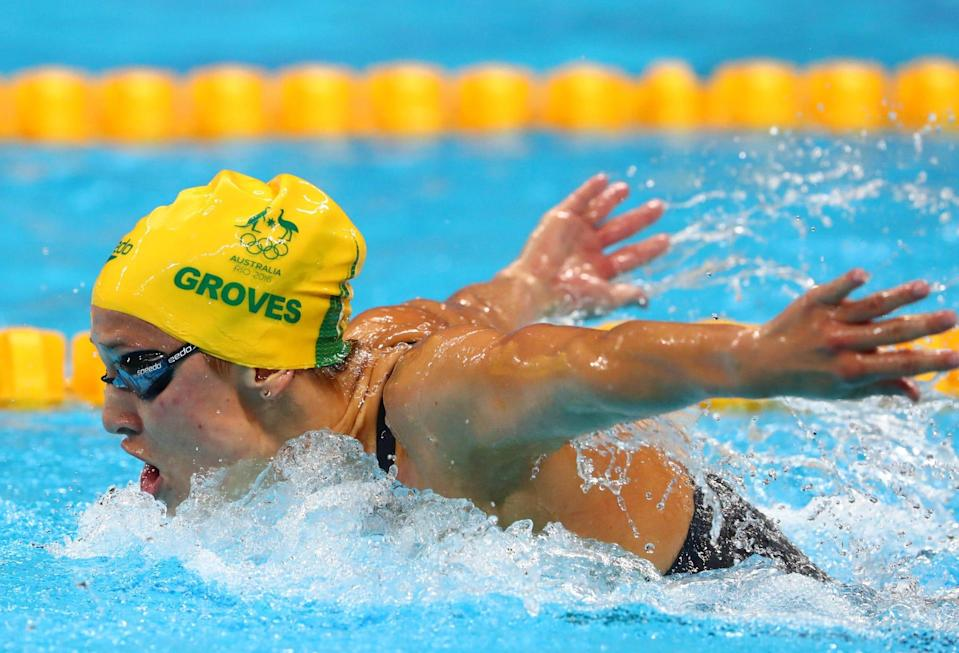 Madeline Groves competes in the women's 200m butterfly final in the 2016 Summer Olympic Games in Rio de Janeiro.
