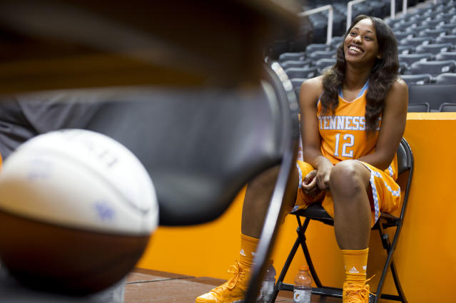 Tennessee's Bashaara Graves is interviewed during NCAA college basketball media day Wednesday, Oct. 30, 2013, in Knoxville, Tenn. (AP Photo/The Knoxville News Sentinel, Saul Young)