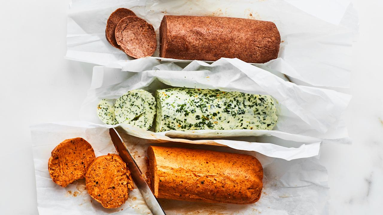 """Transforming cream into butter is simple and mess-free with your food processor. Just add herbs and seasonings to create your own flavored butter. Choose from cinnamon-orange, garlic-herb, paprika-sesame, or invent a flavor entirely your own. <a href=""""https://www.epicurious.com/recipes/food/views/food-processor-butter?mbid=synd_yahoo_rss"""">See recipe.</a>"""