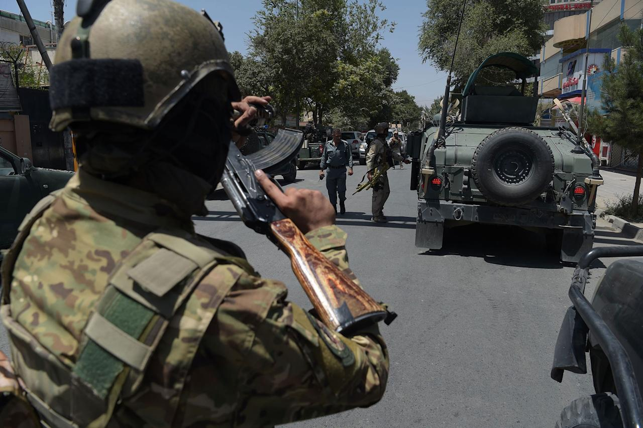 "<p>Afghan security arrive at the site of a suicide blast near Iraq's embassy in Kabul on July 31, 2017.<br /> A series of explosions and the sound of gunfire shook the Afghan capital on July 31, with a security source telling AFP that a suicide bomber had blown himself up in front of the Iraqi embassy. ""Civilians are being evacuated"" from the area as the attack is ongoing, said the official, who declined to be named.<br /> (Shah Marai/AFP/Getty Images) </p>"