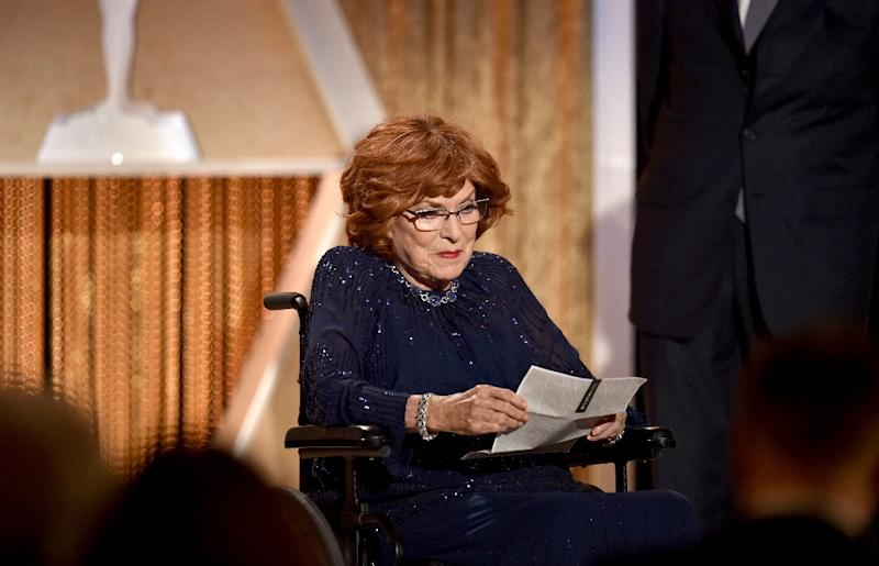 Maureen O'Hara accepts an Honorary Award onstage during the Academy of Motion Picture Arts and Sciences' 2014 Governors Awards on November 8, 2014 in Hollywood, California (AFP Photo/Kevin Winter)