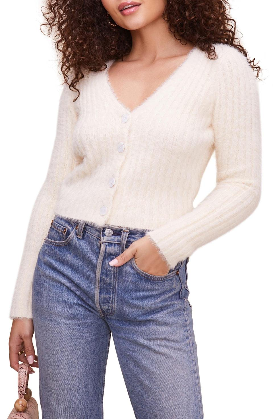 <p>Cut from an ultra-fuzzy yarn that's woven with a bit of wool, this flattering <span>ASTR the Label Cardigan</span> ($64) will keep you warm.</p>