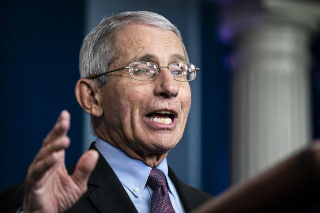 Dr. Anthony Fauci, director of the National Institute of Allergy and Infectious Diseases, suggested MLB shouldn't play baseball in October. (Jabin Botsford/The Washington Post via Getty Images)