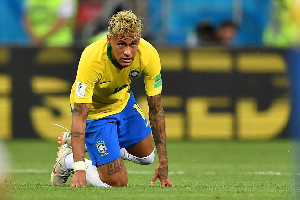 Neymar gets up after falling to the ground during Brazil's draw with Switzerland. (Getty)