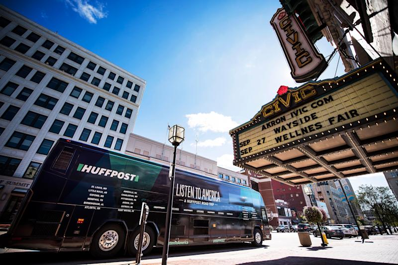 """The HuffPost busparks in front of the Akron Civic Theater in Ohio during """"Listen To America: A HuffPost Road Trip."""" The news outlet will visit more than 20 cities on its tour across the country."""