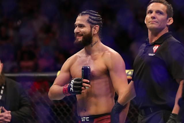 Jorge Masvidal celebrates his win over Ben Askren in their welterweight fight during the UFC 239 event at T-Mobile Arena on July 6, 2019 in Las Vegas. (Photo by Christian Petersen/Zuffa LLC)