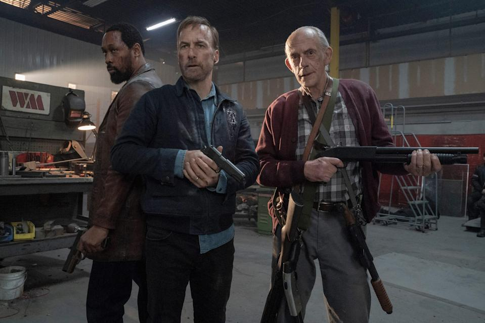 """Hutch (Bob Odenkirk, center) teams up with adopted brother Harry (RZA) and dad David (Christopher Lloyd) in """"Nobody."""""""