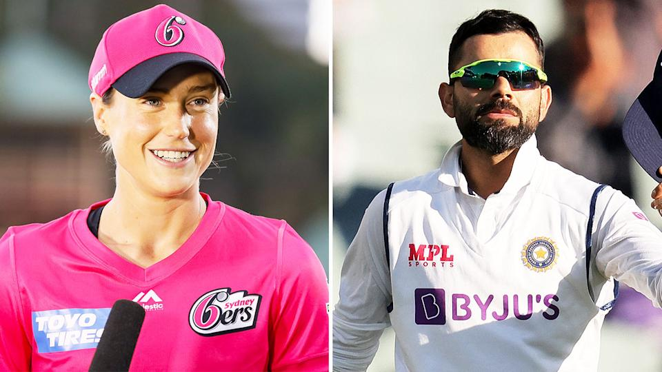 Ellyse Perry (pictured left) smiling during an interview and Virat Kohli (pictured right) celebrating a wicket.