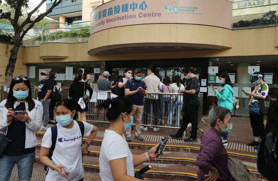 As of 8pm on Monday, 1,123,500 doses of Covid-19 vaccines had been administered in Hong Kong. Photo: Edmond So