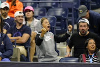 A fan cheers for Andrey Rublev, of Russia, as he plays Frances Tiafoe, of the United States, during the third round of the US Open tennis championships, Saturday, Sept. 4, 2021, in New York. (AP Photo/Frank Franklin II)