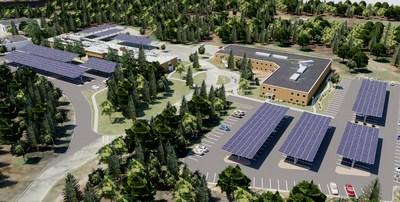 Rendering of a planned 1.12-megawatt SunPower Helix® solar project paired with a 470-kilowatt (940-kilowatt hour) integrated energy storage system at Cabot's Business and Technology Center in Billerica, Massachusetts. It will be supported by the new Solar Massachusetts Renewable Target (SMART) Program which was established by Massachusetts Department of Energy Resources (DOER) to encourage development of solar in the state.