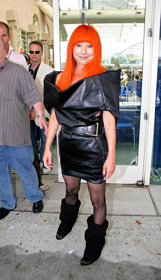 "Singer Tori Amos hits a bad note in her Kool-Aid-colored wig and leather Star Trek ensemble. David Tonnessen/<a href=""http://www.pacificcoastnews.com/"" target=""new"">PacificCoastNews.com</a> - July 26, 2008"