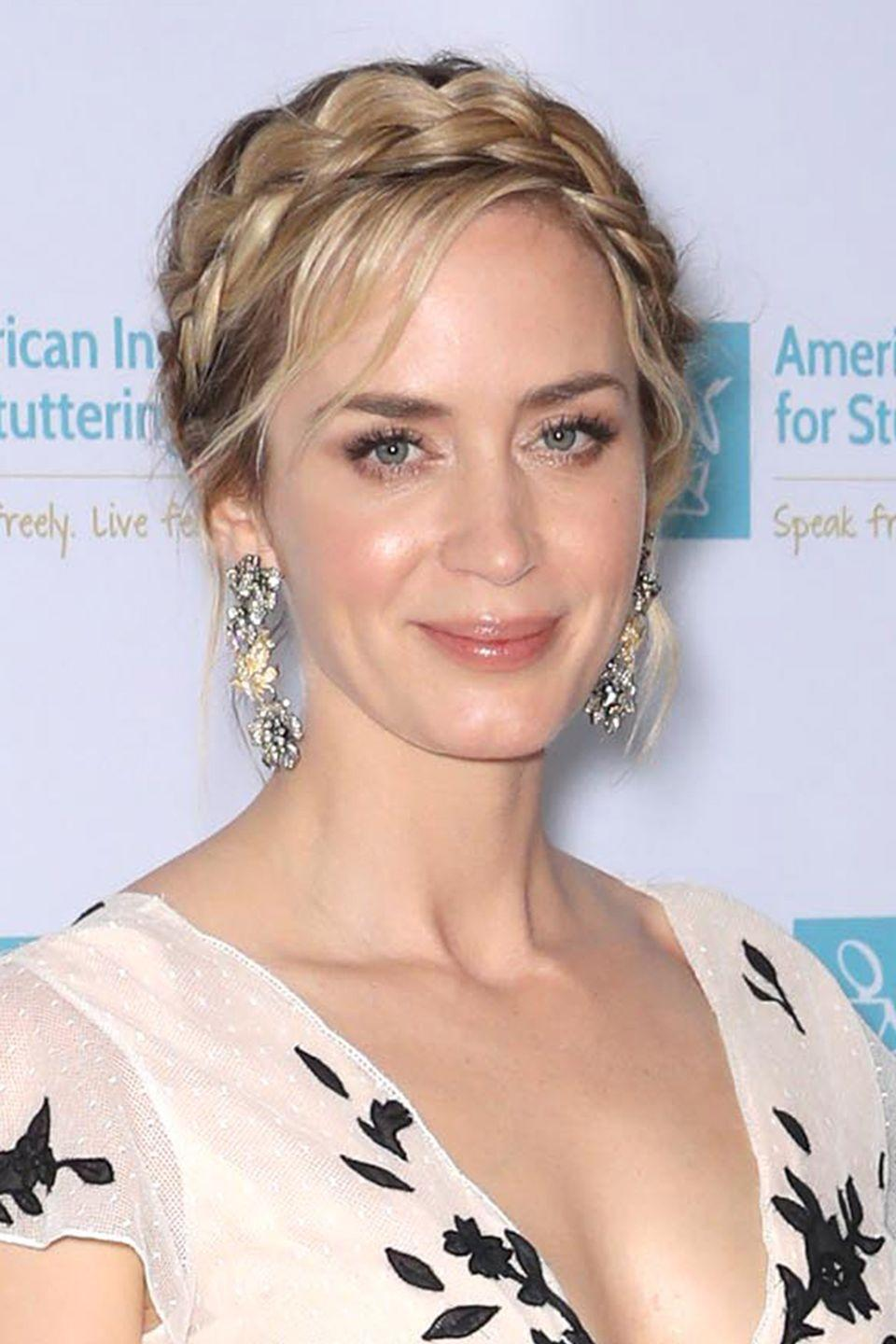 <p>Turn your pigtail plaits into a sophisticated up-do like Emily Blunt, by pinning them on top of each other at the crown of your head.</p>