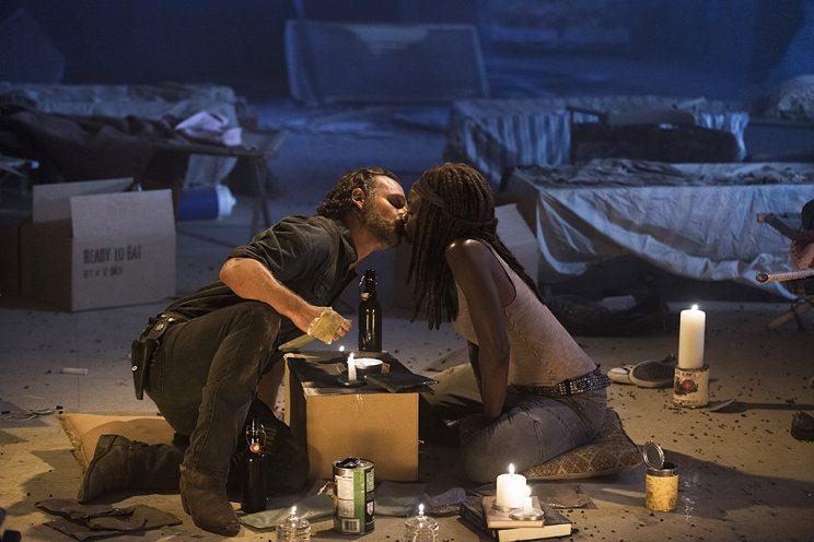Andrew Lincoln as Rick Grimes and Danai Gurira as Michonne in AMC's The Walking Dead . (Photo Credit: Gene Page/AMC)