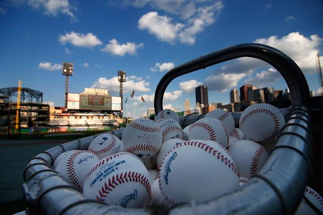PITTSBURGH, PA - OCTOBER 1: Baseballs sit in a basket prior to the National League Wild Card game between the Pittsburgh Pirates and the Cincinnati Reds at PNC Park October 1, 2013 in Pittsburgh, Pennsylvania. (Photo by Jared Wickerham/Getty Images)