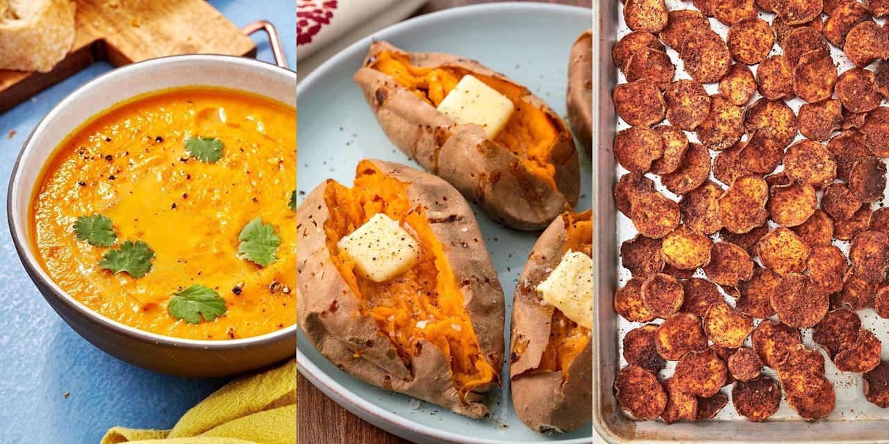 "<p>There's no denying how much we love sweet potato. Whether it's <a href=""https://www.delish.com/uk/cooking/recipes/a32220420/sweet-potato-falafel//"" target=""_blank"">cooked into falafel</a>, <a href=""https://www.delish.com/uk/cooking/recipes/a29952051/sweet-potato-and-carrot-soup/"" target=""_blank"">blended into a soup</a> or <a href=""https://www.delish.com/uk/cooking/recipes/a28841618/perfect-baked-sweet-potato-recipe/"" target=""_blank"">baked in the oven</a>, we're big fans of those delicious flavours. They're super versatile and work great for <a href=""https://www.delish.com/uk/cooking/recipes/g29890570/healthy-lunch-ideas/"" target=""_blank"">lunch</a> and <a href=""https://www.delish.com/uk/cooking/recipes/g32768299/easy-dinner-recipes/"" target=""_blank"">dinner</a>. And they're incredibly easy to make (like seriously). So, if you're on the hunt for some great-tasting sweet potato recipes, we've got you covered. </p>"