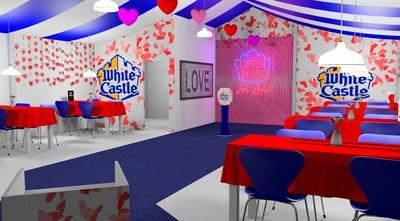 Design for White Castle's San Antonio pop-up restaurant offering a special Valentine's Day dining experience in February 2020.