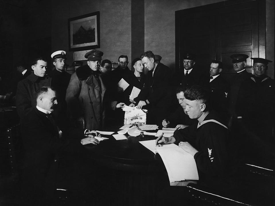 U.S. soldiers and sailors in New York City cast their votes in the General Election, Nov. 5, 1918. (Photo by FPG/Hulton Archive/Getty Images)