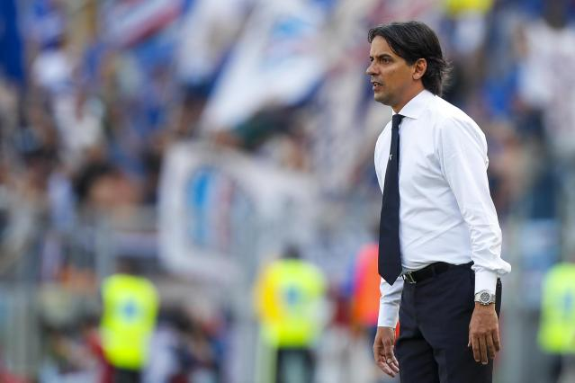 Lazio coach Simone Inzaghi follows the game during the Serie A soccer match between Lazio and Sampdoria at the Rome Olympic stadium Sunday, April 22, 2018. (Angelo Carconi/ANSA via AP)