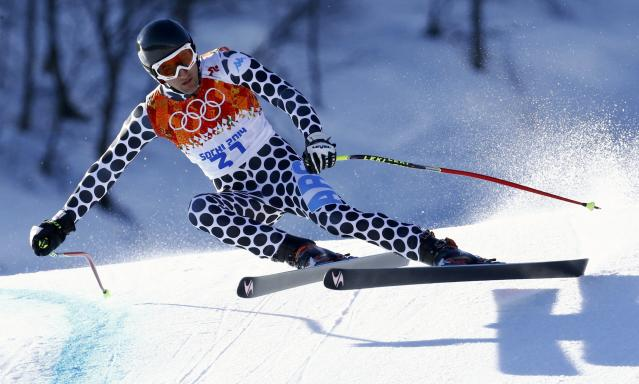 Argentina's Cristian Javier Simari Birkner skis during the downhill run of the men's alpine skiing super combined event at the 2014 Sochi Winter Olympics at the Rosa Khutor Alpine Center February 14, 2014. REUTERS/Ruben Sprich (RUSSIA - Tags: SPORT SKIING OLYMPICS)