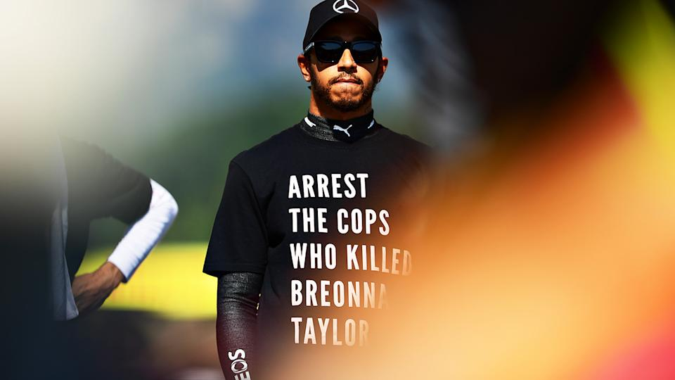 Lewis Hamilton is pictured wearing a shirt in tribute to the late Breonna Taylor.