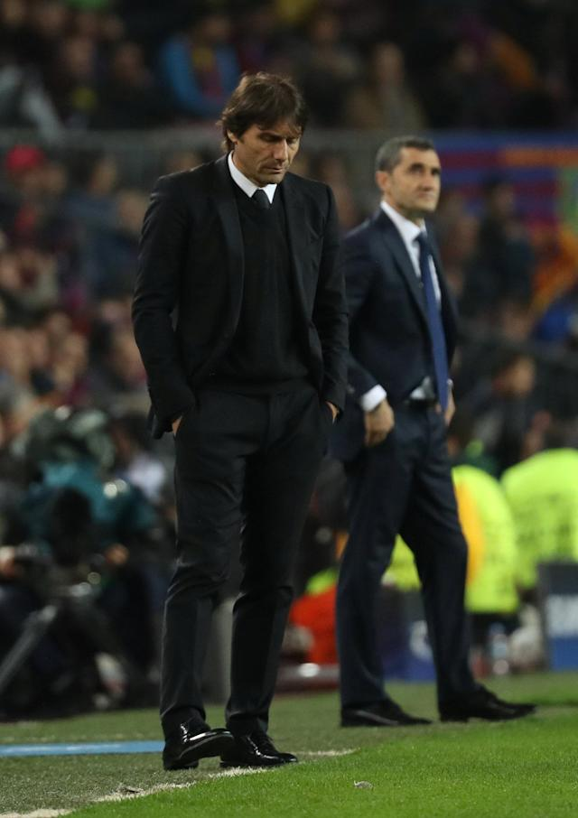 Soccer Football - Champions League Round of 16 Second Leg - FC Barcelona vs Chelsea - Camp Nou, Barcelona, Spain - March 14, 2018 Chelsea manager Antonio Conte and Barcelona coach Ernesto Valverde REUTERS/Susana Vera