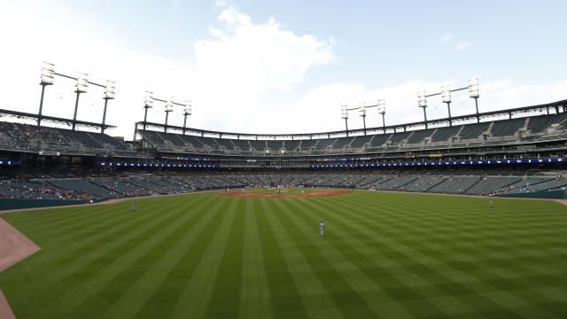 Fans watch at Comerica Park watch the fifth inning of a baseball game between the Detroit Tigers and the Baltimore Orioles in Detroit, Monday, Sept. 16, 2019. (AP Photo/Paul Sancya)