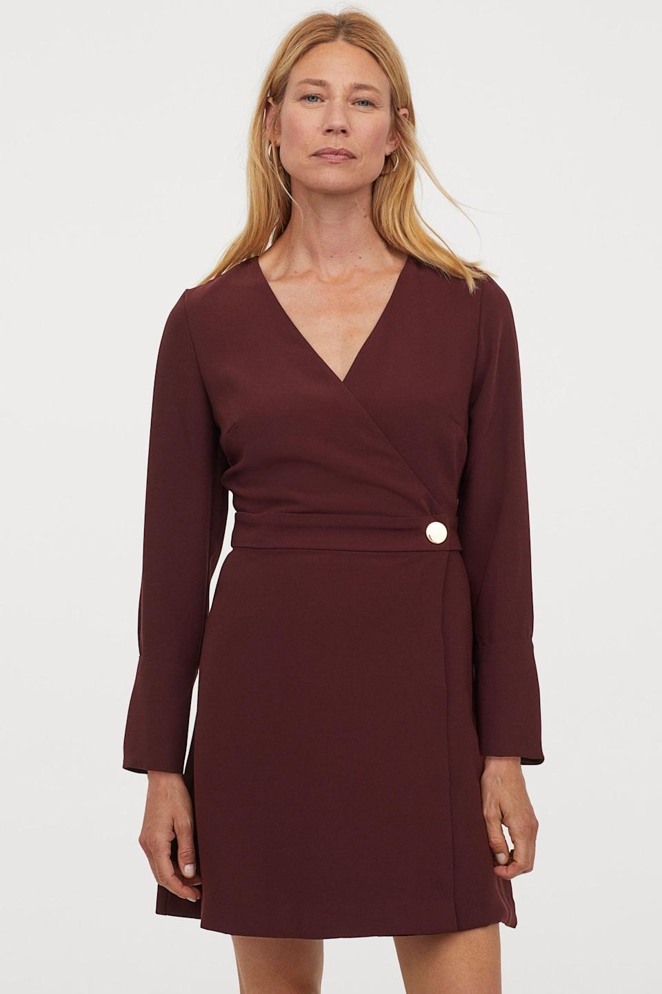 <p>This chic <span>Wrap Dress<br> </span> ($20, originally $35) will easily transition from day to night.</p>