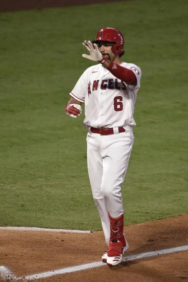 The Angels' Anthony Rendon celebrates a fourth-inning home run against the Athletics on Aug. 11, 2020.