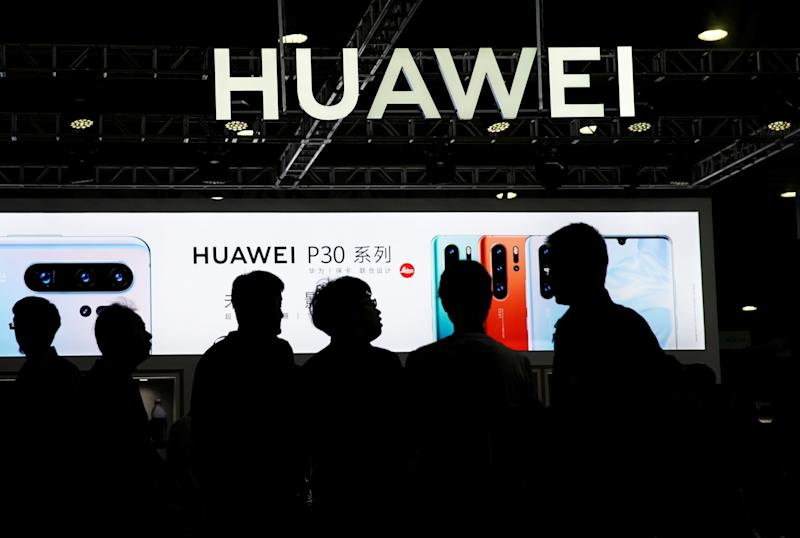 A Huawei company logo is seen at CES (Consumer Electronics Show) Asia 2019 in Shanghai, China June 11, 2019. REUTERS/Aly Song