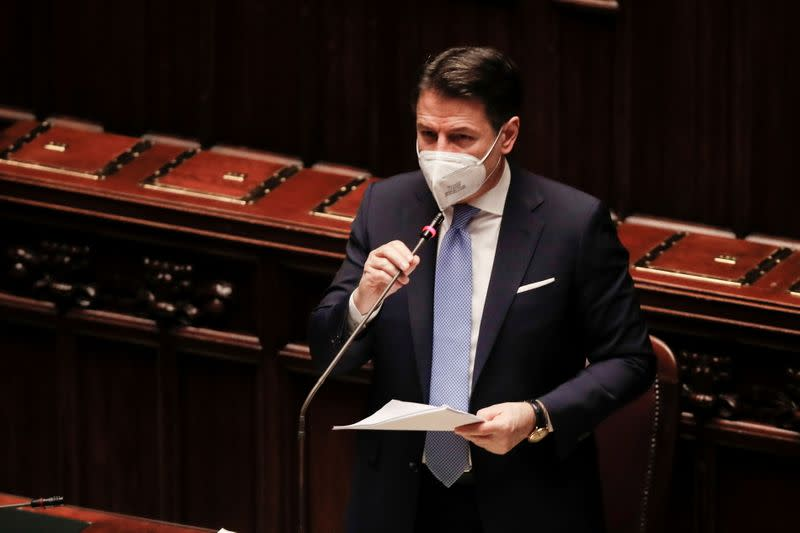 Italy's Prime Minister Giuseppe Conte delivers a speech at the lower chamber of Parliament, in Rome