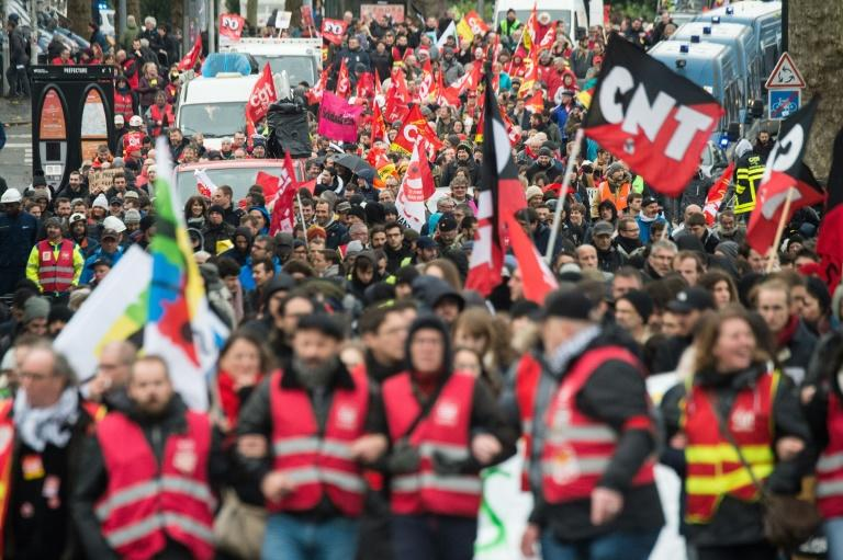 A march against a planned pensions overhaul in Nantes, western France, on Thursday. (AFP Photo/Loic VENANCE)