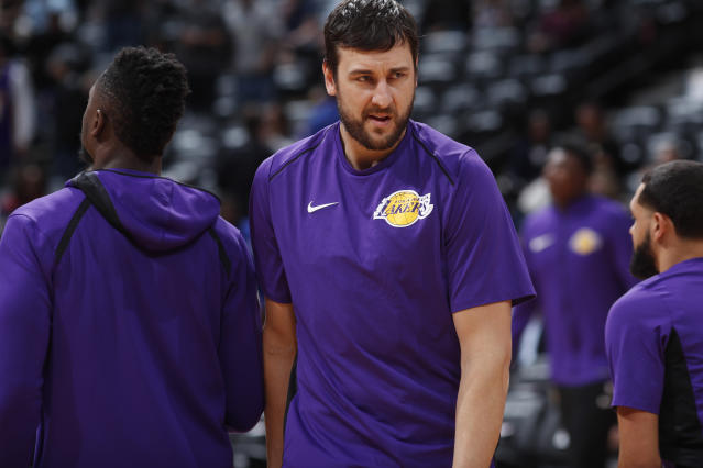 Andrew Bogut played 24 games for the Lakers. (AP)