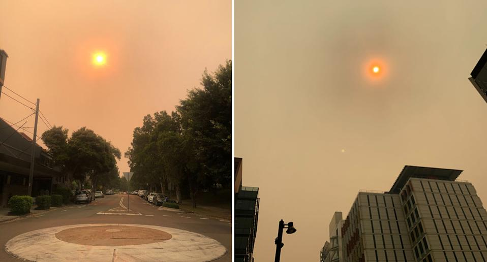 The red sun above Redfern on Thursday. Source: Supplied