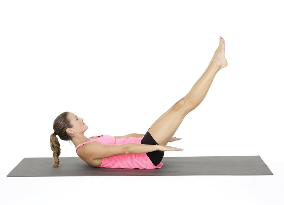 """<p>Pilates 100s challenge every part of your core, said Daniela Caesar-Roden, a certified Pilates Teacher at <a href=""""https://oldschoolpilates.com/"""" class=""""link rapid-noclick-resp"""" rel=""""nofollow noopener"""" target=""""_blank"""" data-ylk=""""slk:Old School Pilates"""">Old School Pilates</a>. Lifting your head engages your abs, pumping your arms engages your back muscles, and your pelvic floor and glutes are working to support your legs. """"The focus on breath throughout this exercise engages the diaphragm, which stabilizes the core from the inside out, especially on the deep exhalations,"""" Caesar-Roden added.</p> <ul> <li>Start lying on your back with your legs in tabletop position (hips and knees at right angles). Engage your deep abs to round your lower spine into the floor. Make sure you are not """"pooching"""" your abs, which means you are just working the top layer of abs, which is a Pilates no-no.</li> <li>Exhale and lift your upper back off the floor, until the bottom tips of your shoulder blades skim the floor. Straighten your legs to a 45-degree angle (but make sure your low back is staying connected to the floor). Reach your arms toward your feet. Your arms will be about two inches off the floor. </li> <li>Pump your arms up and down with a small range of motion, keeping your elbows straight. Inhale for five arm pumps, and exhale for five pumps. That completes one set or cycle. Over time, work your way up to 10 cycles.</li> </ul>"""